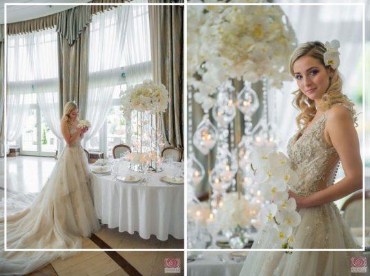 robe de mariée appliquée de dentelle et de strass