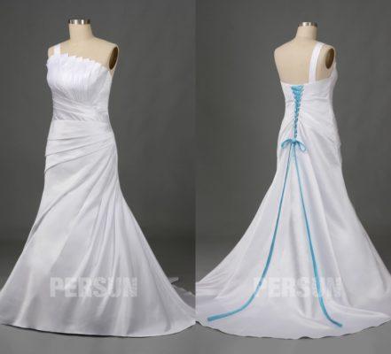 robe de mariée asymétrique plissé